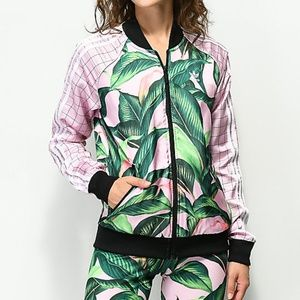 b4aac7fc727d6 adidas Tops | Nwt Originals Farm Big Leaf Satin Track Top | Poshmark